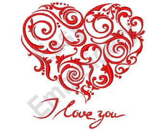 I Love You - Machine Embroidery Design
