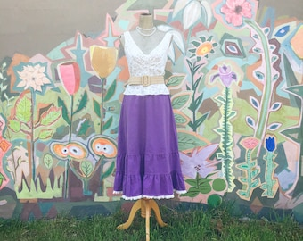 Vintage 1970s Lavender Prairie Skirt/Top Set (Size Small/Medium)