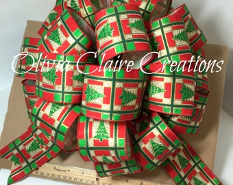 Christmas Tree Topper, Christmas Decoration Bow, Holiday Bow, Gift Bow for Gift Basket. Red with Christmas Trees. Bow for Christmas Wreath