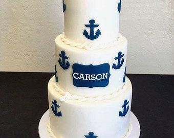 Nautical fondant cake toppers- Nautical Baby shower - Nautical Party - Nautical cake - Nautical birthday - Nautical cake toppers - Fondant