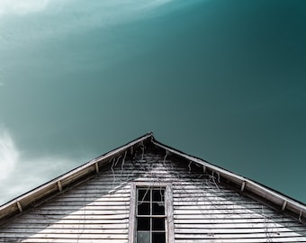 Once Upon A Time Photograph, Broken Window, Teal And White, Abandoned, House, Second Story, Decay, Roof, Large Print, Wall Art