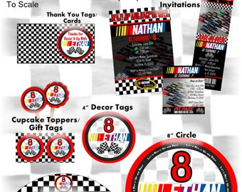 Nascar paper etsy nascar inspired racing party package and invitation printable customized with party details race car filmwisefo Choice Image