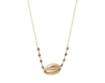 Gold Cowrie Necklace, Gold Dipped Cowrie Shell, Pyrite, 14K Gold Fill, Hawaii Jewelry
