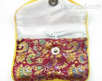 Satin gift pouch, mix color zip gift bag, handmade patterns silk jewelry bag, wedding favor pouch wholesale, size 8x6cm or 10x8cm, JB2040