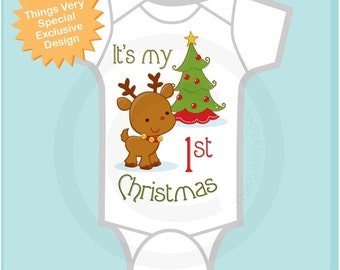 1st Christmas Onesie, First Christmas Shirt, Personalized 1st Christmas T-Shirt or Onesie, Reindeer Shirt (11212011a)