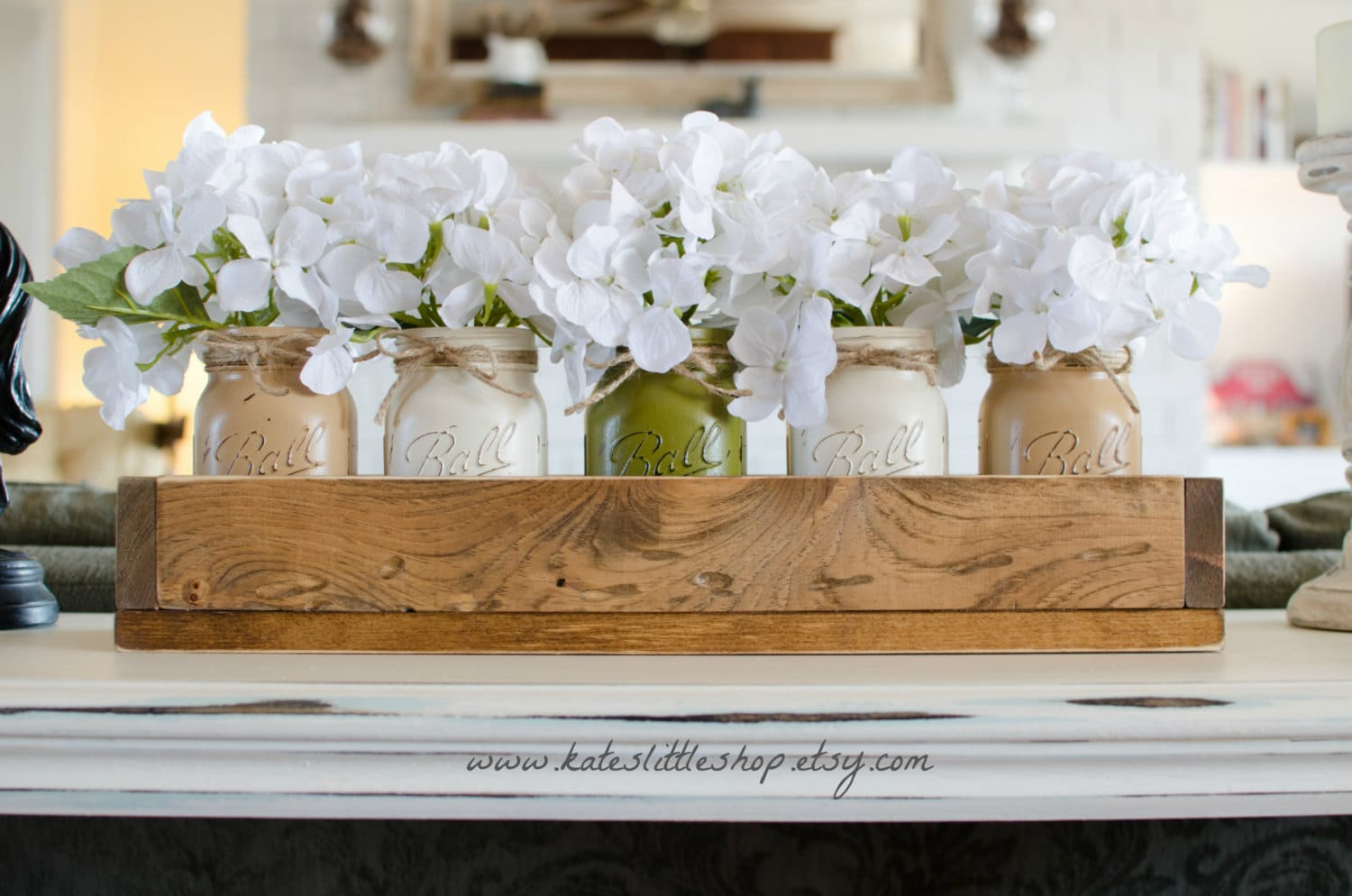 Custom made rustic planter box with 5 painted mason jars for Table centerpieces for home