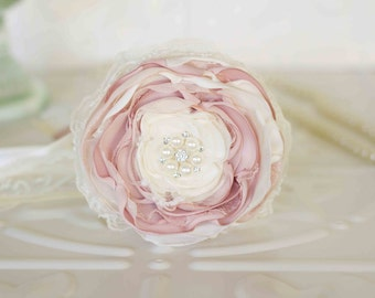 Flower girl wand, flower wand, satin and lace ribbons, Junior Bridesmaid, Pink and Ivory