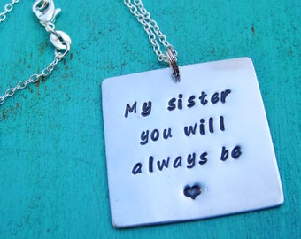 Large, square, hand-stamped, silver, personalized necklace