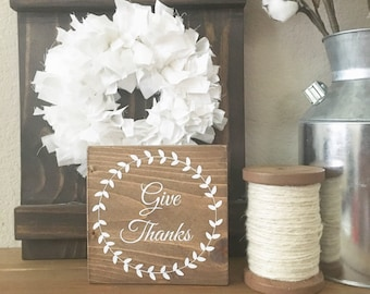 Give Thanks Sign - Give Thanks Wood Sign - Thanksgiving Decor - Thanksgiving Sign