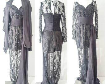 Vintage Clothing LACE DRESS Women Lace Dress Sleeves Lace BRIDESMAID Dress Long Bridesmaid Dress Long Bridesmaid Dress with Sleeves Dresses