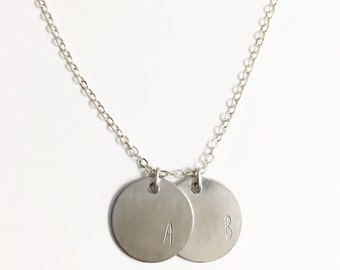 Silver Disc Necklace, Initial Necklace, Monogram Necklace, Gift for Her, Gift for Girlfriend, Letter Necklace, Two Disc Necklace,