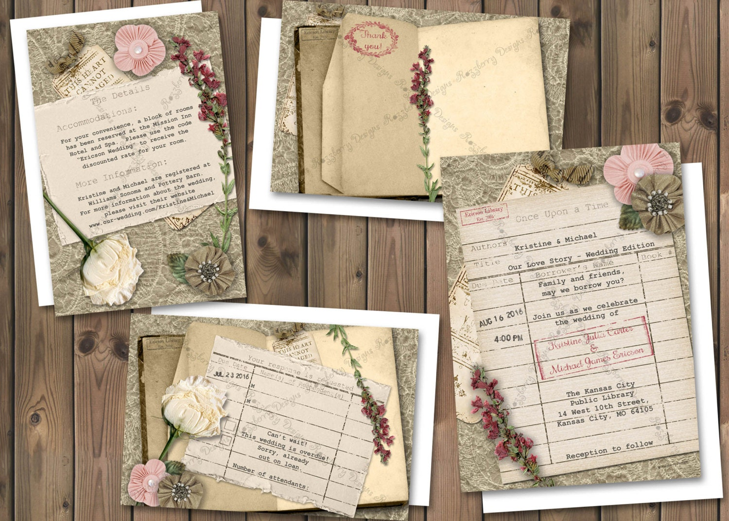 One Page Wedding Invitations: Library Card Wedding Invitation Book Theme Wedding Invite