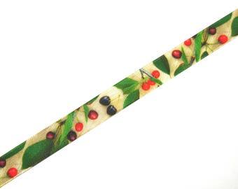 """""""Cluster of cherries"""" printed Ribbon 16 mm X 50 cm in width"""
