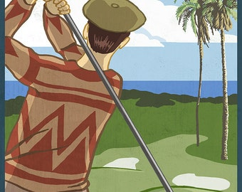 Newport Beach, California - Golfer (Art Prints available in multiple sizes)