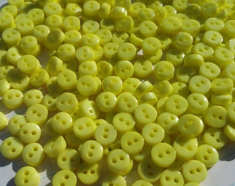 """Tiny Yellow Buttons - Little Sewing Button - 1/4"""" Wide - 6mm - 100 Buttons"""