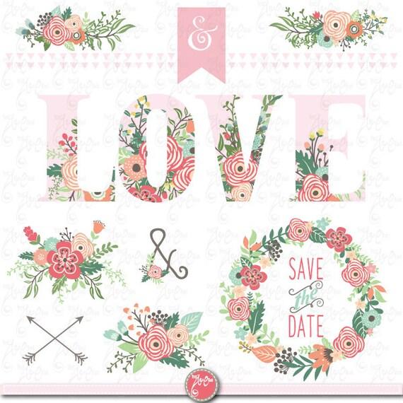 Pack De Clipart De Amor Amor Floral Flores