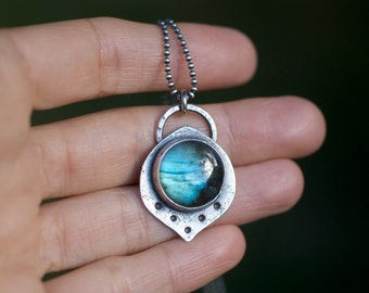 Labradorite necklace, blue labradorite, labradorite pendant, lotus necklace, yoga necklace, chakra gemstone, throat chakra
