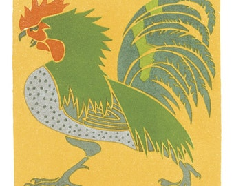 Hand-cut wooden jigsaw puzzle. ROOSTER. A. Roubille. Art Deco. Wood, collectible. Bella Puzzles.