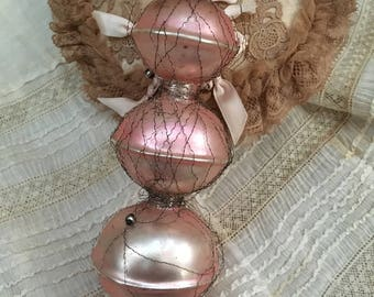 I Died Antique Wire Wrapped Pink Faded 3 Tier Christmas Ornament