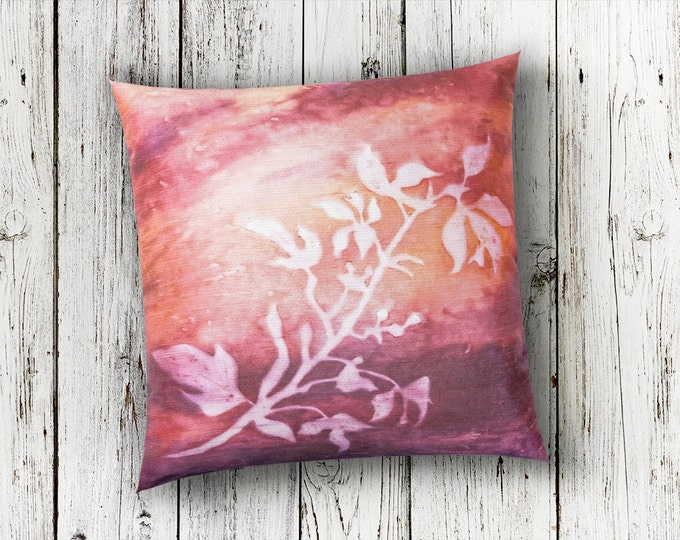 Botanical Pillow Cover 18x18-Watercolor Silk Pillow-Blush Pillow-Cottage Decor-Mother's Day Gift-Home Decor Gifts-Watercolor Home Decor