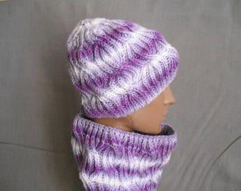 Snood scarf. Knit women hat. Knit cowl scarf. neck warmer. Warm knit hat. Winter accessories.