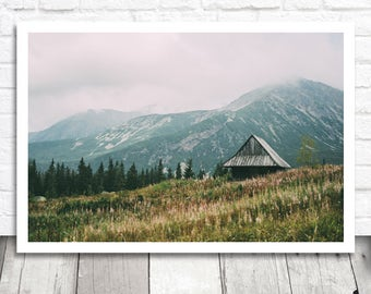 Mountain Cabin Print, Mountain Print, Digital Photo Download, Nature Print, Digital Download, Mountain Photograph, Printable Photography