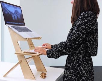 standing desk, scaffolding desk, work station, modern desk, desk converter, laptop stand