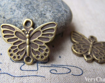 10 pcs of Antique Bronze Butterfly Connector Charms 20x25mm A2755