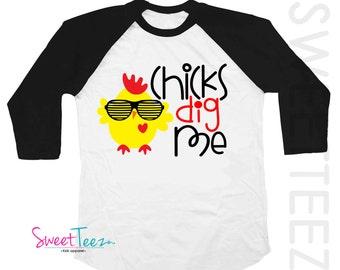 Chicks Dig me Shirt Valentine's Day Shirt Easter Shirt Boy Kids Black Blue Raglan Shirt