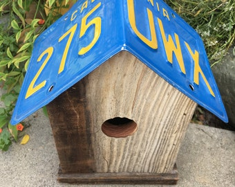 Unique Bird house, birdhouse, decorative, outdoor, one of a kind, license plate, custom birdhouse any state