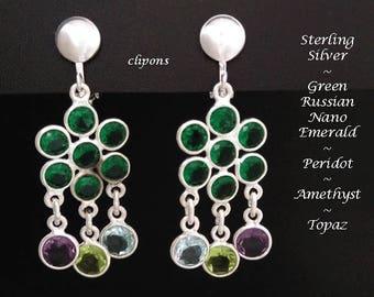 Sterling Silver Clip On Earrings with Amethyst, Topaz, Peridot and Green Russian Nano Emerald Gemstones | Clip On Chandelier Earrings, 268
