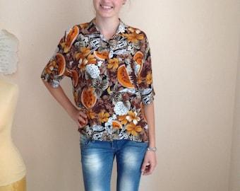 70s Tropical Fruit Print Blouse Tutti Frutti Floral Short Sleeve Button Up Small Medium
