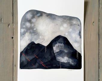 Storm Over The Black Mountains 2 - Original 8x10 Watercolour Landscape Art Painting - Monochrome, Neon Pink - by Natasha Newton