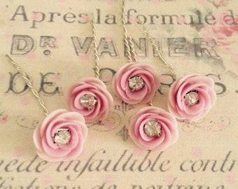 5 pink handmade porcelain flowers with crystal centers 10mm  no.1056-2