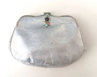 Art Deco Purse Silver Leather with Jeweled Clasp Finger Clutch