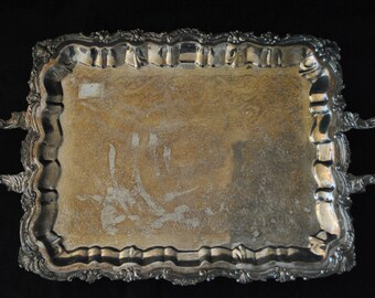 """Striking Large Ornate Silver Footed Tray, Handles, 16""""D x 25""""W x 2.25""""H, PA4120, Shipping Is Not Free!!!"""