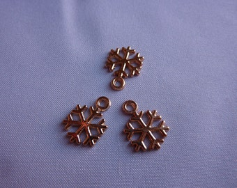 15mm Tiny Gold Snowflake Charms (set of 3)