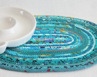 Fabric Coiled Mat / Coiled Rope Placemat / Clothesline Hot Pad / Trivet / Teal Bohemian Oval by PrairieThreads