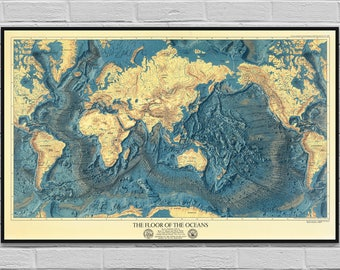Map Ocean Floors & Lands Relief / old map poster / vintage cartography digital map / World ocean theme / wall art decor / INSTANT DOWNLOAD