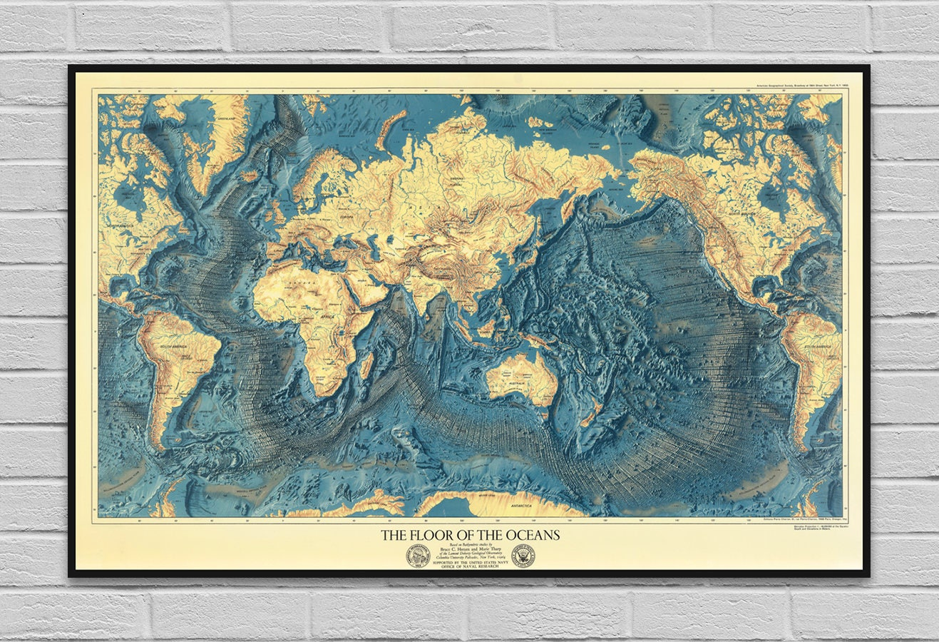 Map ocean floors lands relief old map poster vintage ampliar gumiabroncs Image collections