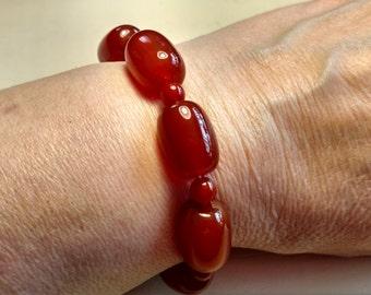 Chunky Carnelian Bracelet. Gemstone Bracelet, Women's Bracelet, Genuine Carnelian, Birthday Gift, Women's Accessories, Slip On Bracelet