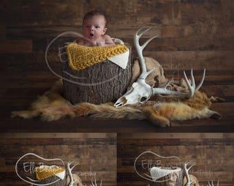 Newborn Digital Backdrop Antlers Skull Coyote Pelt Flowers Rustic Organic