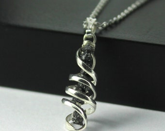 Spiral Pendant Necklace - Black Rough Diamonds - Sterling Silver Diamond-cut Chain - Dangled Raw Diamonds - April Birthstone