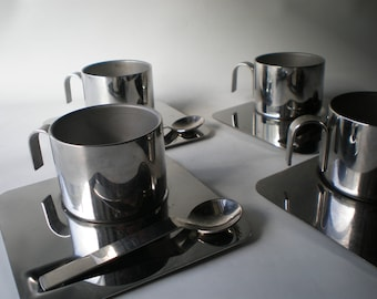 Set of 4 Inox Italian Stainless Demitasse Cappuccino Expresso Cups Saucers and Spoons