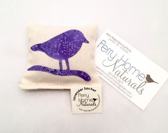 Lavender Sachet with Chickadee Appliqué in Cotton Canvas - Small Lavender Pillow with Bright Purple Chickadee