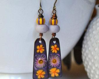 Purple Flower Earrings, Stripped Earrings, Artisan Enamel Earrings, Long Earrings, Boho Earrings, Floral Earrings, Glass Bead Earrings
