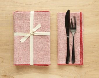 Set of 4 Linen + Cotton Dinner Napkins - Linen Red with Red Edge