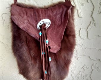 Brown Deerskin with fur Purse, Shoulder Purse, Crossbody Purse