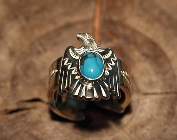 Silver Eagle Ring | Flying Bird Ring | Native American Inspired | Turquoise Ring | Silver Gemstone Ring | Adjustable Arrow Ring |Ethnic Ring