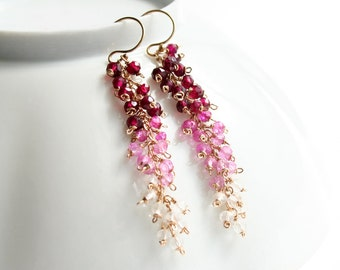 Pink Earrings, Ombre Jewelry, Gemstone Jewelry